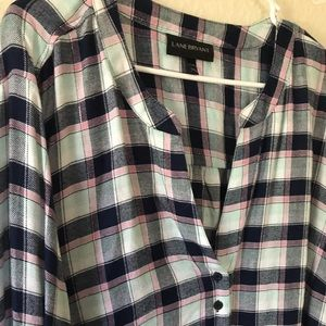 Blue/Pink/Silver Plaid Top
